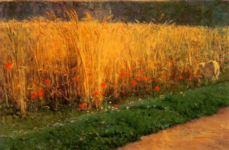 Giuseppe Palizzi - Wheat Field with Poppies