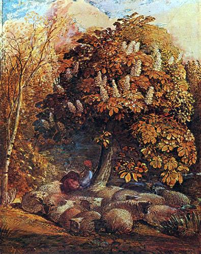 Samuel Palmer - Shepherdess under a chestnut tree