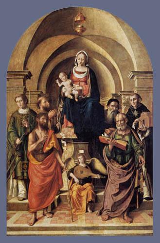 Marco Palmezzano - Thronende Madonna mit Kind
