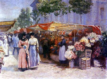 Józef Pankiewicz - Blumenmarkt vor der Maria Magdalenen Kirche in Paris