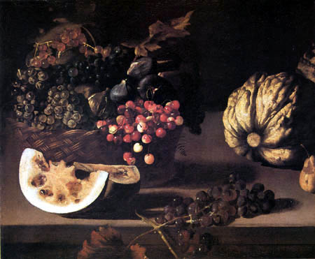 Pietro Paolini - Basket of Cherries, Melons and Grapes