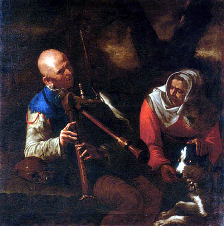 Pietro Paolini - A peasant playing a bagpipe