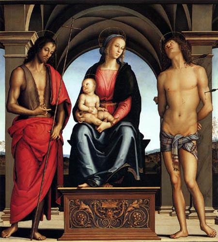 Perugino (Pietro di Cristoforo Vannucci) - Enthroned Madonna with Child
