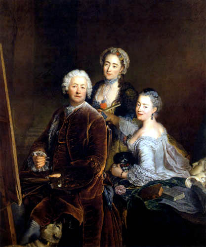 Antoine Pesne - Selfportrait with daughters