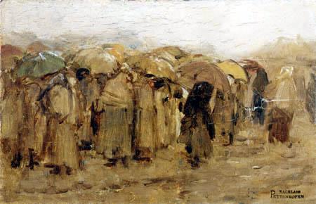 August von Pettenkofen - Markt im Regen