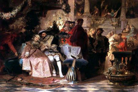 Karl T. von Piloty - Heinrich VIII. wirbt um Anna Boleyn