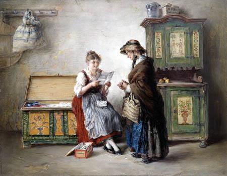 Otto Piltz - Bäuerliches Interieur mit Mutter und Tochter