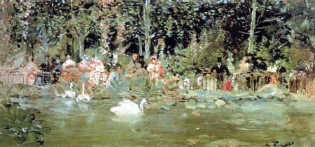 Ignacio Pinazo Camarlench - Pond with swans