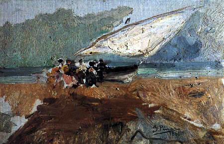 Ignacio Pinazo Camarlench - Boat at the beach