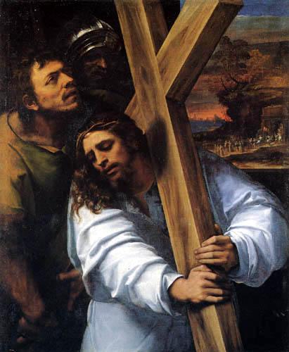 Sebastiano del Piombo - Jesus with the cross to hills