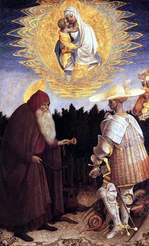 Pisanello (Antonio Pisano) - The virgin appears to St. George and the Hermit Antonius