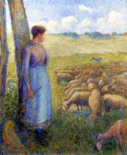 Camille Pissarro - Hirtin mit ihren Schafen