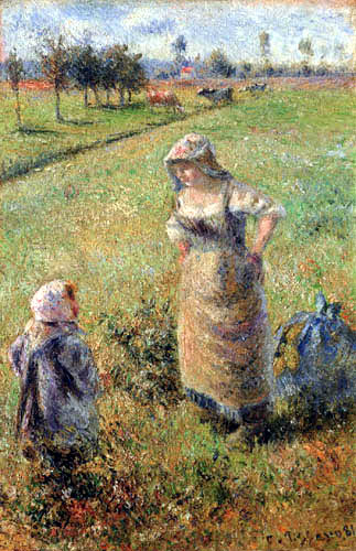 Camille Pissarro - Peasant woman with a child in a field