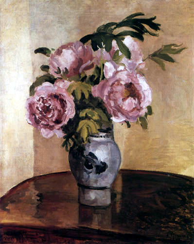 Camille Pissarro - Rosa Pfingstrosen in einer Vase