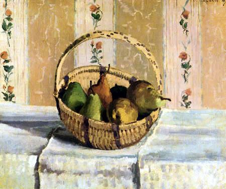 Camille Pissarro - Bodegón con las frutas en una cesta