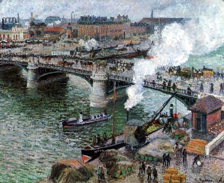 Camille Pissarro - Die Brücke Boïeldieu in Rouen bei Regen