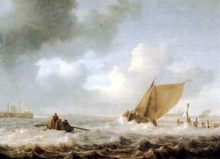 Jan Porcellis - Harbor entrance in storm