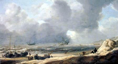 Jan Porcellis - Shipwreck on the beach
