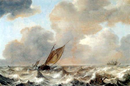 Jan Porcellis - Schiffe bei steifer Brise