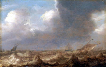 Jan Porcellis - Shipping in a squall
