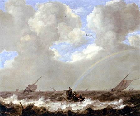 Jan Porcellis - A seascape with fishermen