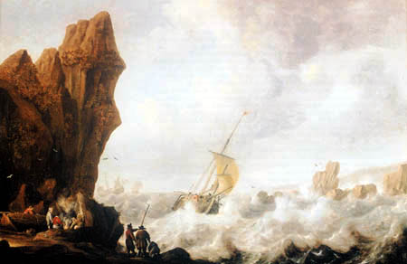 Julius Porcellis - Rocky coast in the stormy sea