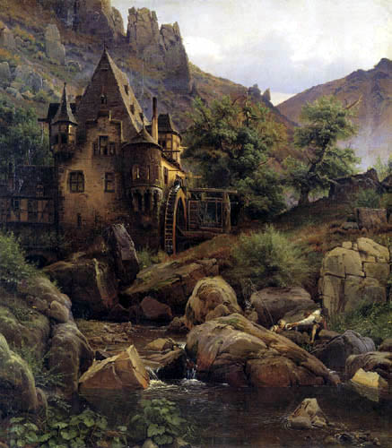 Eduard Wilhelm Pose - Ideal landscape with mill