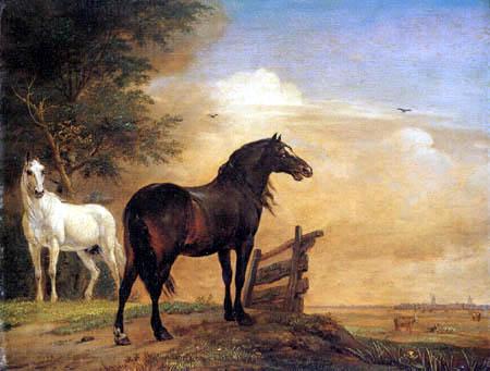 Paulus Potter - Deux chevaux dans les pâturages