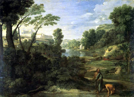 Nicolas Poussin - Landschaft mit Diogenes