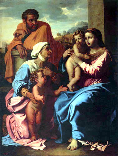 Nicolas Poussin - Die heilige Familie mit Johannes dem Täufer