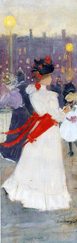 Maurice Brazil Prendergast - Lady with a red sash