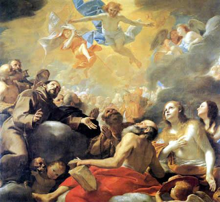 Mattia Preti - Le Christ glorieux et saints