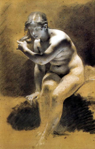 Pierre-Paul Prud´hon - Venus im Bad, Skizze