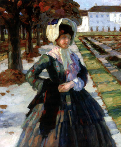 Leo Putz - Eine Dame im Park