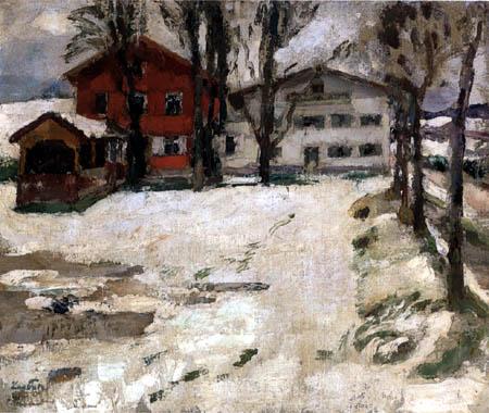 Leo Putz - Gasthaus im Schnee