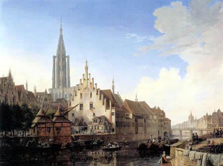 Domenico Quaglio - Straßburg mit Münsterturm