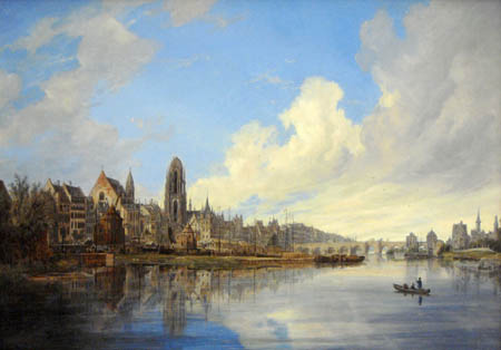 Domenico Quaglio - View of Frankfurt from the west