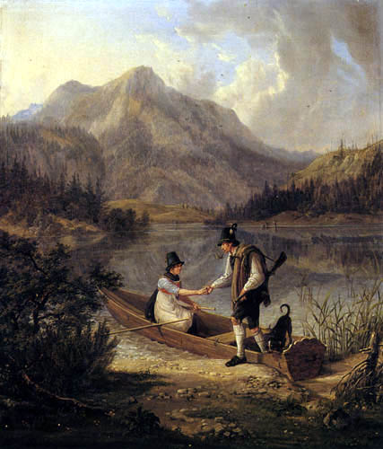 Lorenzo Quaglio - Hunter and Alpine Herdswoman on Schliersee