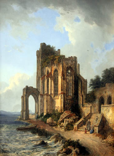 Domenico Quaglio - Church ruins by the sea