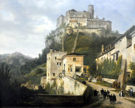 Domenico Quaglio - Nonnberg und Festung Hohensalzburg