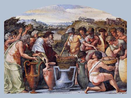 Raffaelo Raffael (Santi Sanzio, Raffael da Urbino) - Abraham und Melchisedek