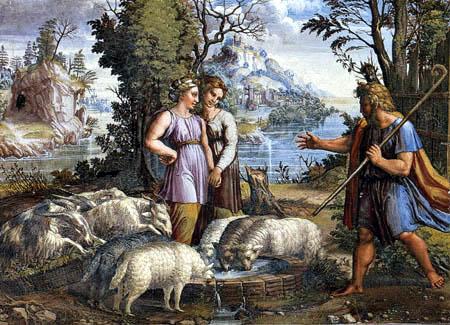 Raffaelo Raffael (Santi Sanzio, Raffael da Urbino) - Die Begegnung Jakobs und Rahels