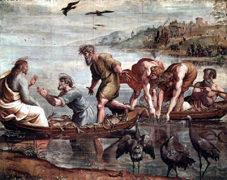 Raffaelo Raffael (Santi Sanzio, Raffael da Urbino) - Der wunderbare Fischzug Petri