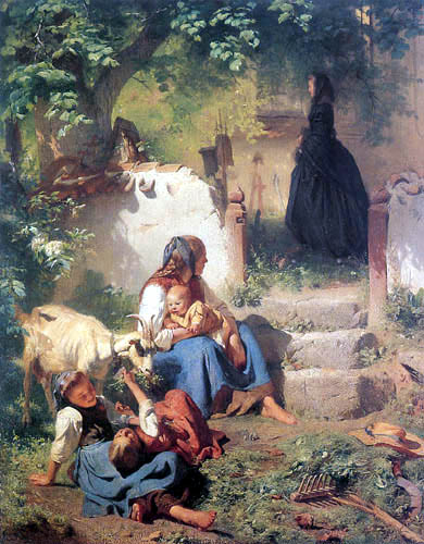 Karl Raupp - Young farmer's wife with playing children