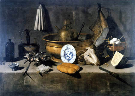 Giovanni (Giovan Battista) Recco - Still life with head of a he-goat
