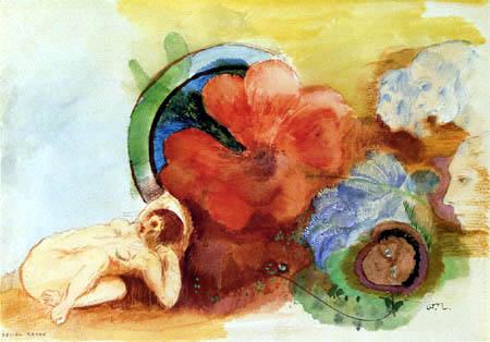 Odilon Redon - Akt mit Begonie und Köpfen