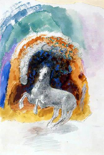 Odilon Redon - Sich aufbäumendes Pferd