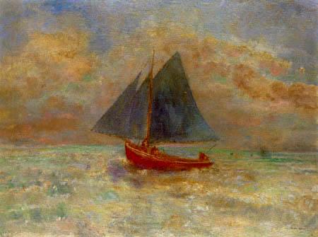 Odilon Redon - Rotes Boot mit blauen Segeln