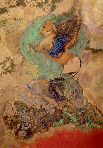 Odilon Redon - Sich aufbäumender Pegasus