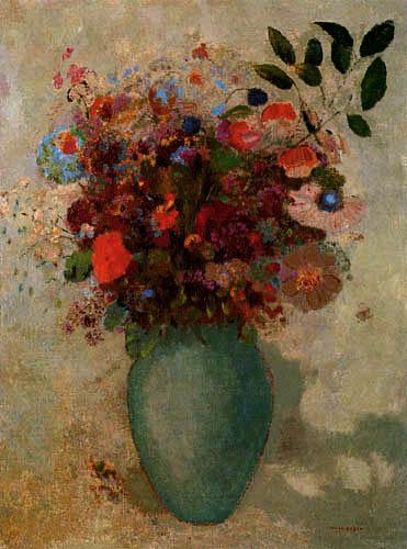 Odilon Redon - Flores en un jarrón turquesa